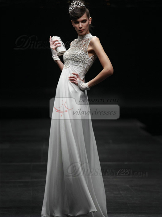 Elegant Sheath/Column High neck Floor-length Lace Evening/Prom Dresses