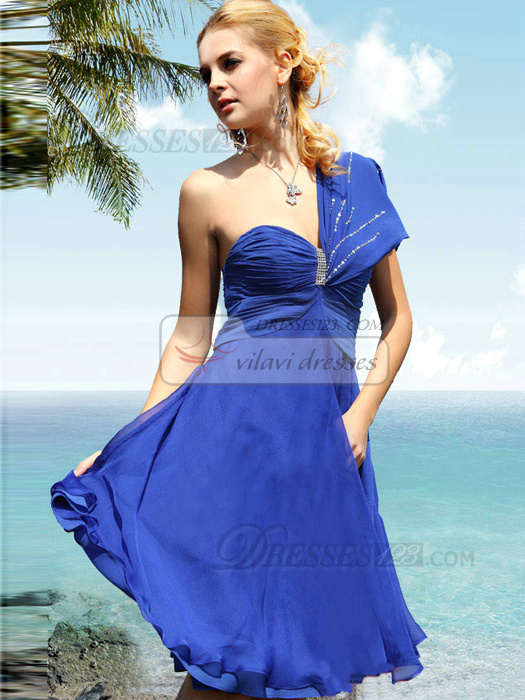 Fantastic A-line Chiffon One shoulder Knee-length Cocktail/Homecoming Dresses
