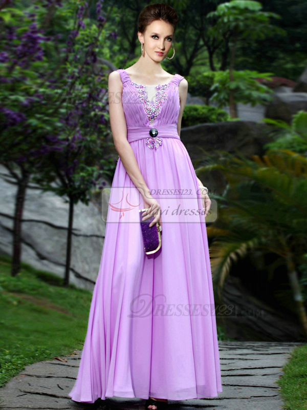 Fantasy A-line Bateau Floor-length Draped Prom/Evening Dresses