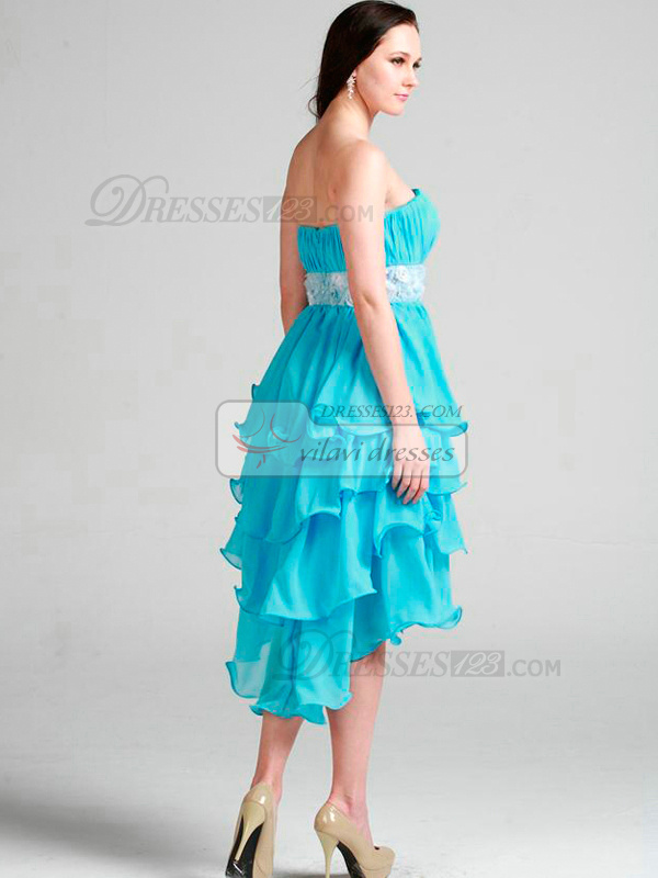 Fantasy Princess Chiffon Asymmetrical Train Tiered Cocktail/Prom Dresses