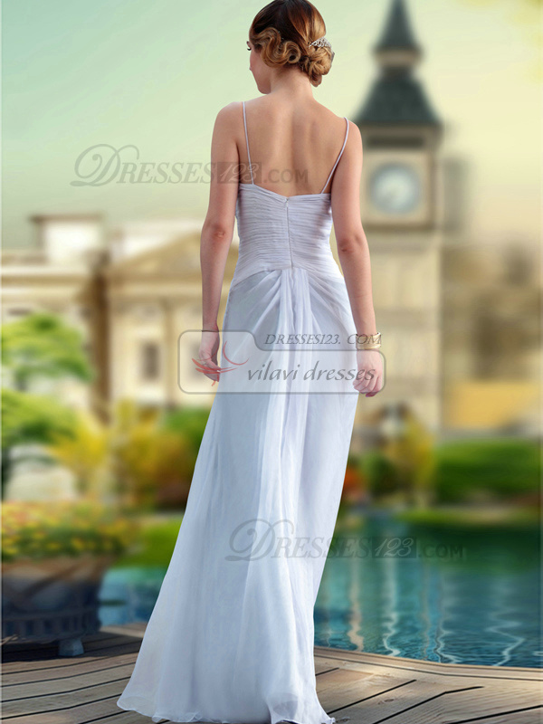 Fantasy Sheath/Column Chiffon  Straps Flower Prom/Evening Dresses