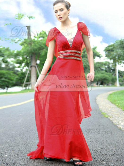 Fantasy Sheath/Column Chiffon Sweep Sequin Evening/Prom Dresses