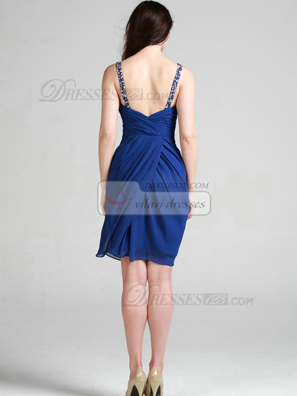 Fantasy Sheath/Column Chiffon V-neck Short/Mini Cocktail/Homecoming Dresses
