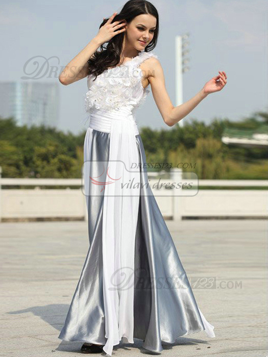 Glamorous A-line Chiffon One shoulder Flower Evening/Prom Dresses