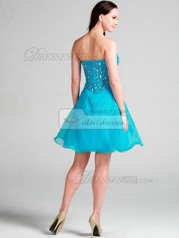 Glamorous A-line Organza Sweetheart Crystal Homecoming/Sweet 16 Dresses