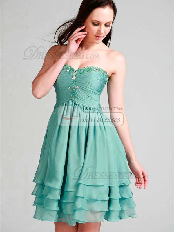 Glamorous A-line Sweetheart Short/Mini Tiered Homecoming/Sweet 16 Dresses