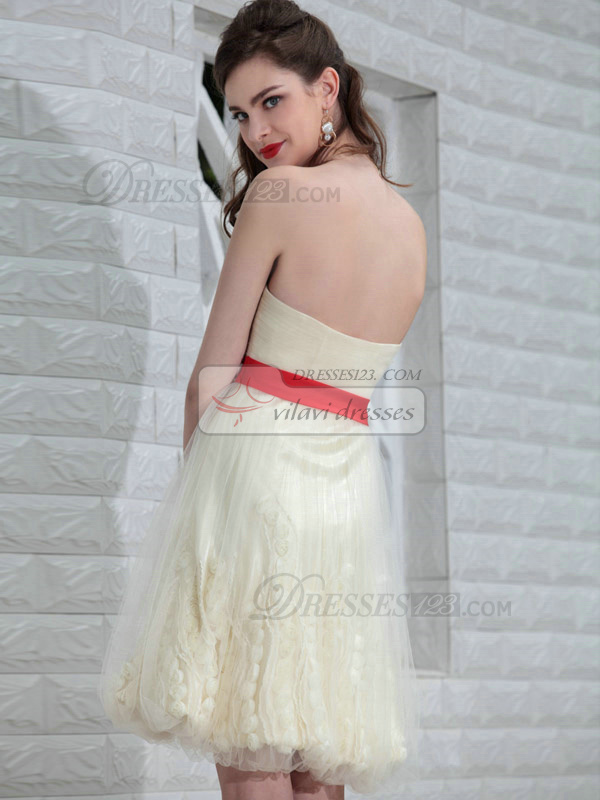 Glamorous A-line Tulle Tube Top Sashes Cocktail/Prom Dresses