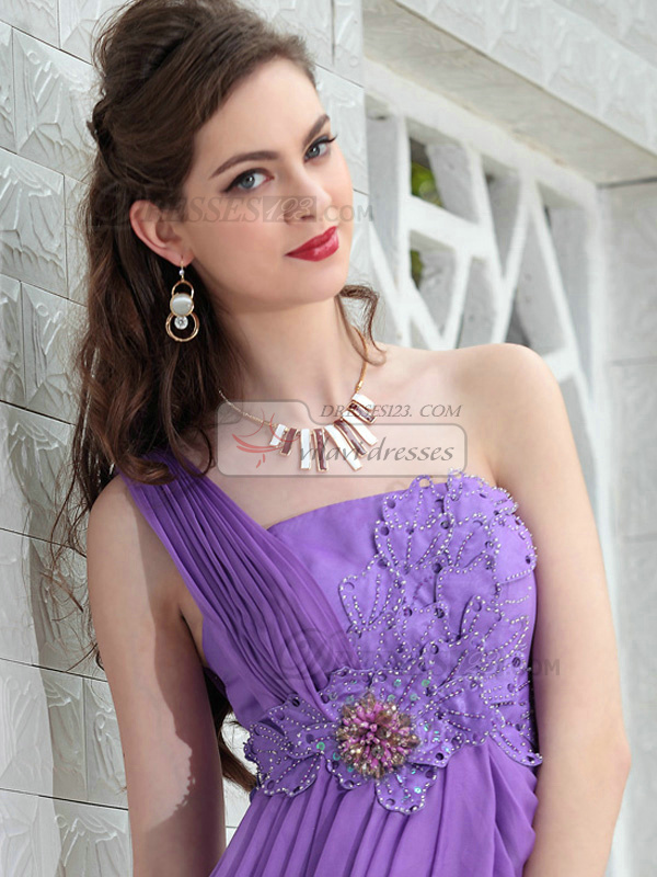 Glamorous Princess One shoulder Short/Mini Flower Prom/Cocktail Dresses