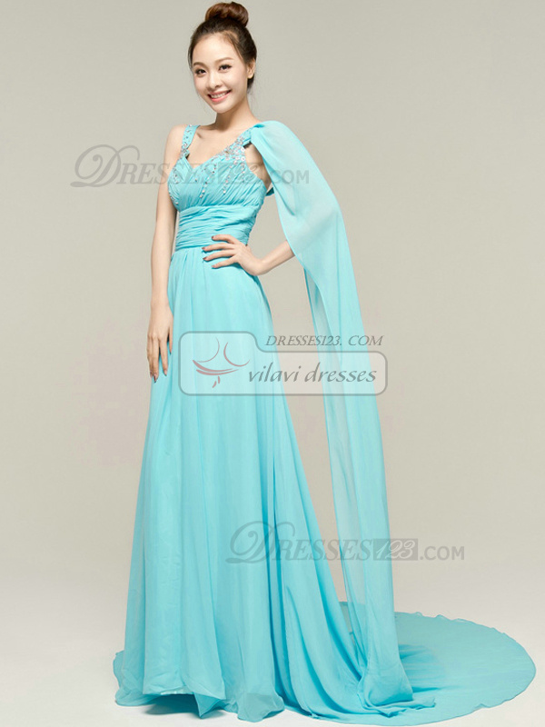 Glamorous Sheath/Column Chiffon Straps Draped Prom/Evening Dresses