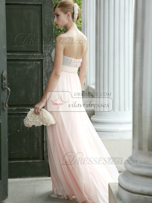 Glamorous Sheath/Column Chiffon Tube Top Beading Evening/Prom Dresses