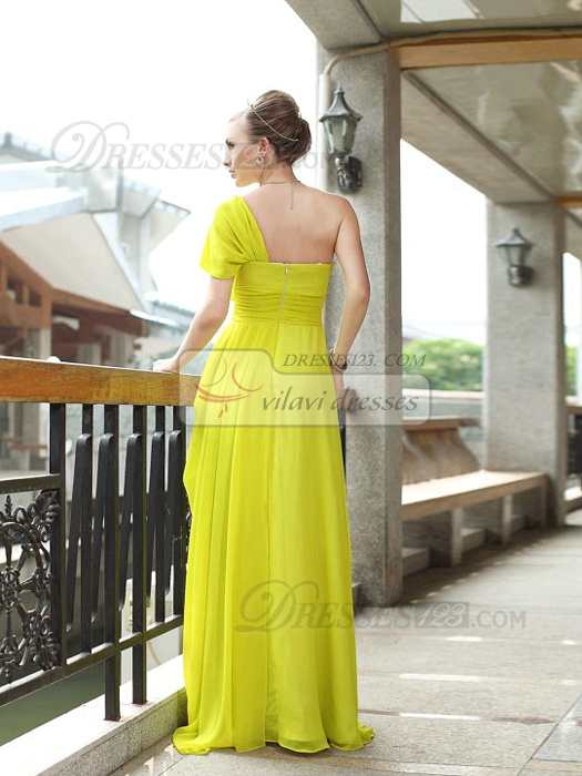Glamorous Sheath/Column One shoulder Floor-length Draped Evening/Prom Dresses