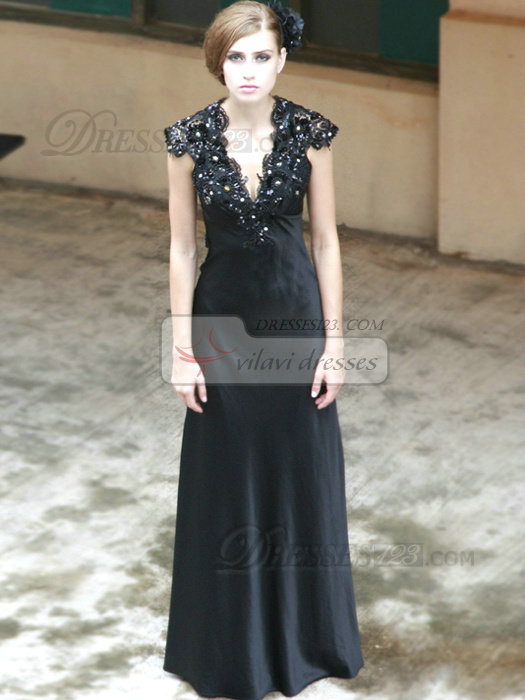 Glamorous Sheath/Column Stretch Satin V-neck Lace Evening/Prom Dresses