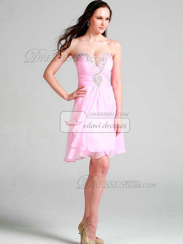 Gorgeous A-line Chiffon Short/Mini Draped Cocktail/Homecoming Dresses