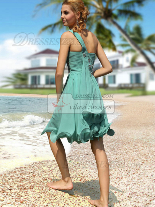 Gorgeous A-line One shoulder Knee-length Beading Prom/Cocktail Dresses