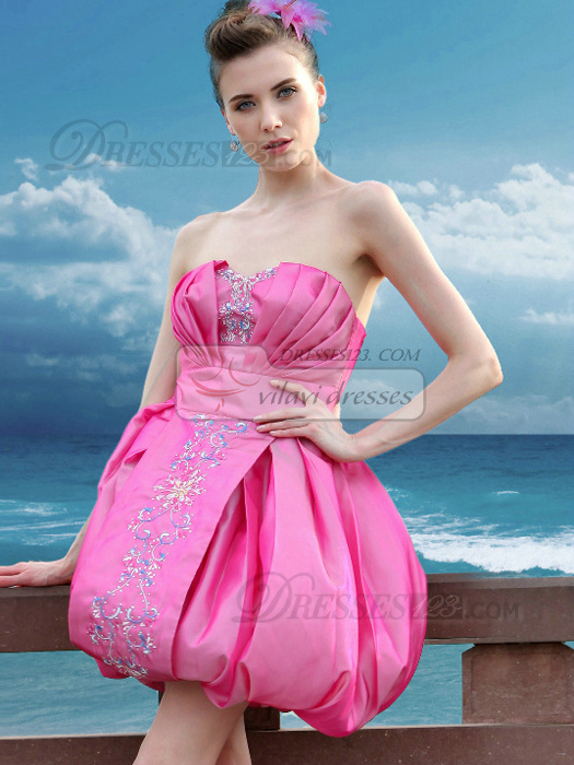 Gorgeous A-line Taffeta Short/Mini Sequin Prom/Cocktail Dresses