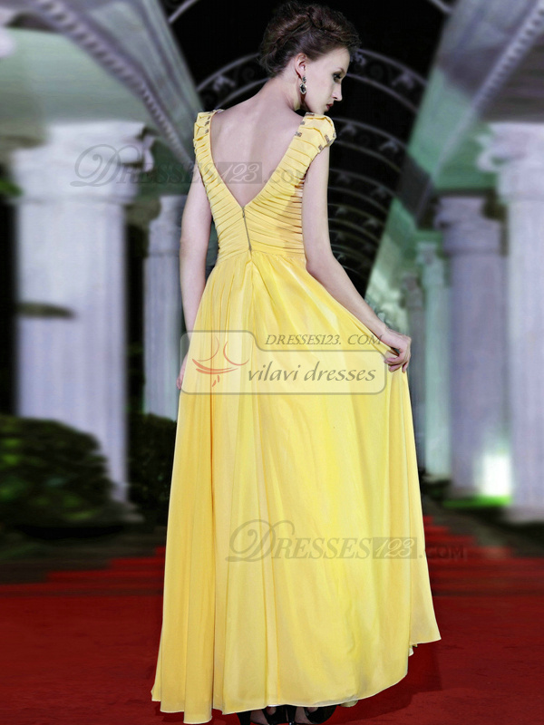 Gorgeous A-line V-neck Floor-length Sequin Prom/Evening Dresses