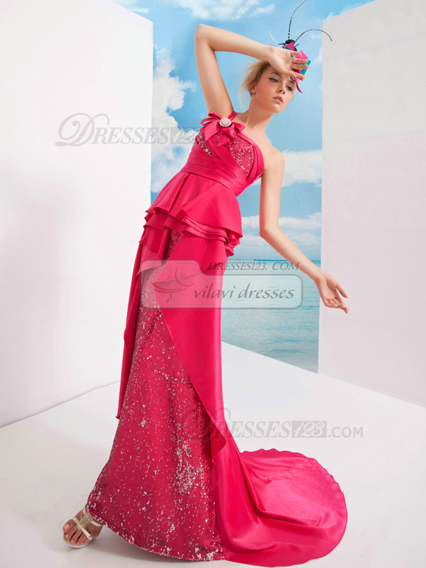 Gorgeous Sheath/Column Satin One shoulder Bowknot Prom Dresses