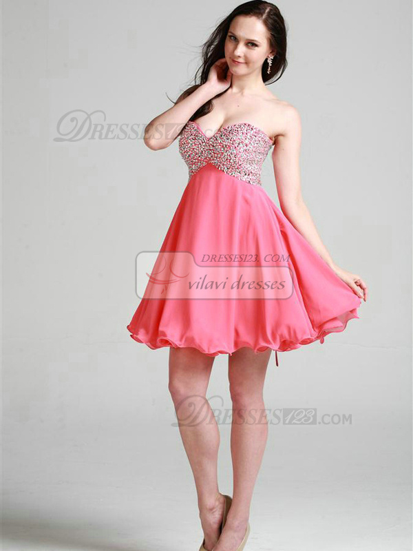 Graceful A-line Chiffon Sweetheart Beading Cocktail/Homecoming Dresses