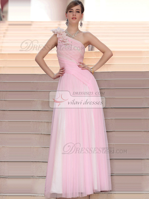 Graceful A-line One shoulder Floor-length Flower Beading Tulle Evening/Prom Dresses