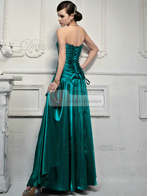 Graceful A-line Satin Strapless Drape Evening Dresses