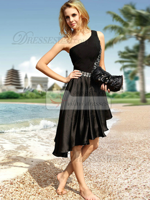 Graceful A-line Stretch Satin One shoulder Asymmetrical Train Prom/Cocktail Dresses