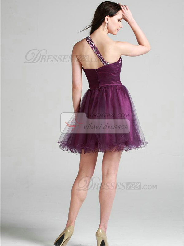 Graceful A-line Tulle One shoulder Short/Mini Cocktail/Homecoming Dresses