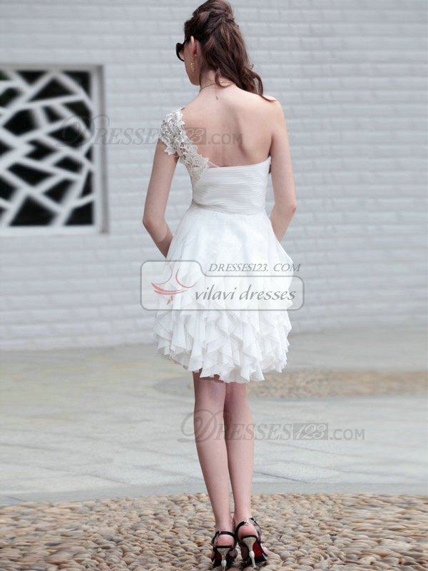 Graceful Ball Gown Lace One shoulder Cascading Ruffle Graduation/Cocktail Dresses