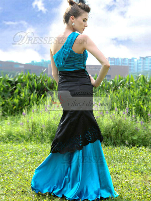 Graceful Mermaid/Trumpet Stretch Satin One shoulder Lace Prom/Evening Dresses