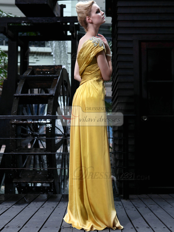 Graceful Sheath/Column Elastic Woven Satin One shoulder Tiered Prom/Evening Dresses