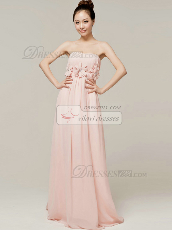Graceful Sheath/Column Tube Top Strapless Flower Bridesmaid Dresses