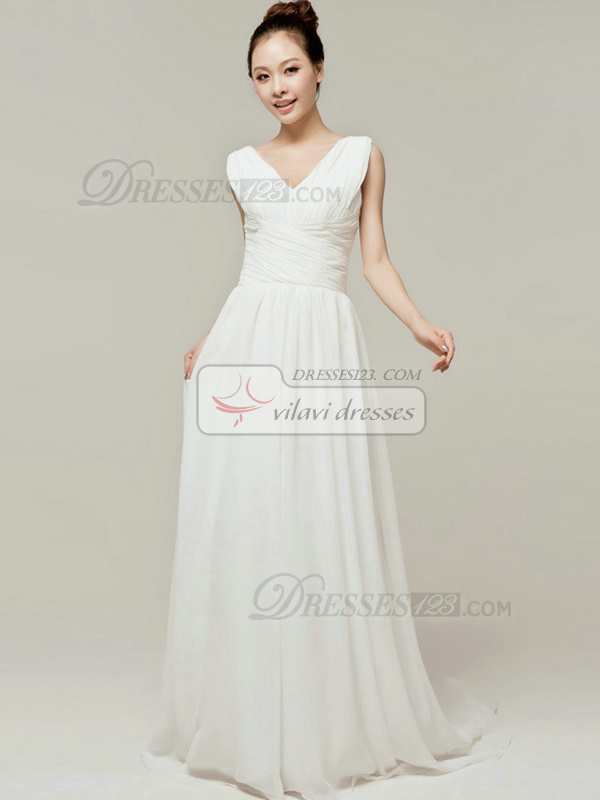 Graceful Sheath/Column V-neck Straps Draped Bridesmaid Dresses