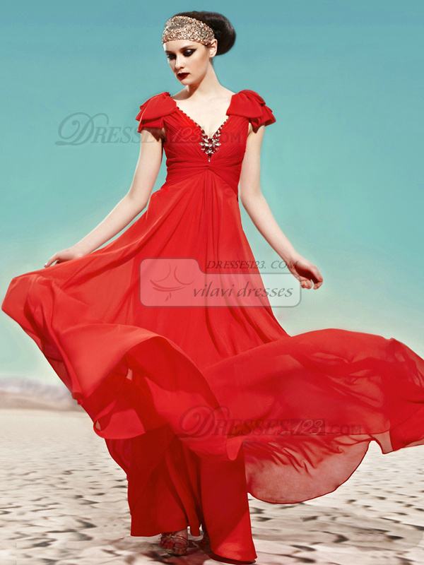Happiness Promise A-line V-neck Straps Floor-length Crystal/Rhinestone Evening Dresses