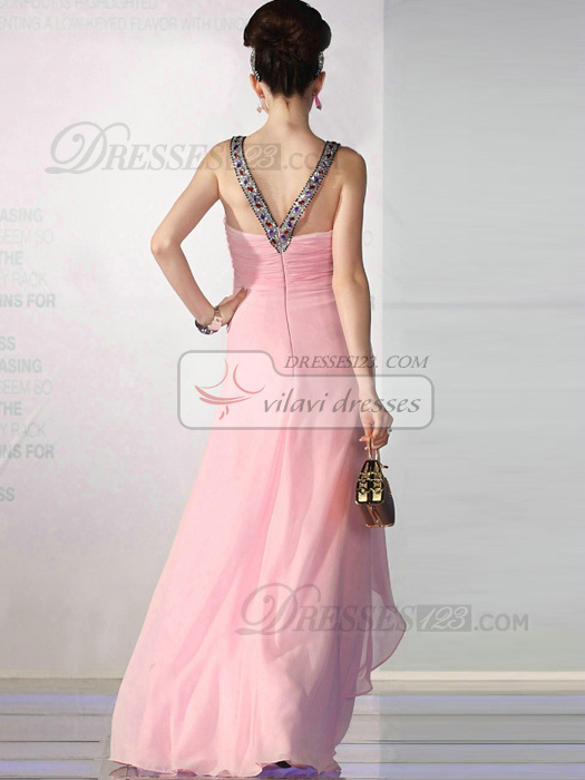 Incomparable A-line Chiffon V-neck Beading Evening/Prom Dresses