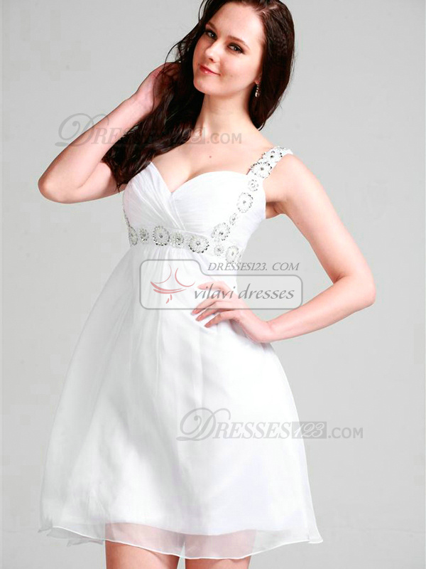Lovely A-line Chiffon Straps Short/Mini Graduation/Sweet 16 Dresses