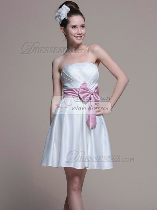 Lovely A-line Satin Tube Top Bowknot Prom/Graduation Dresses
