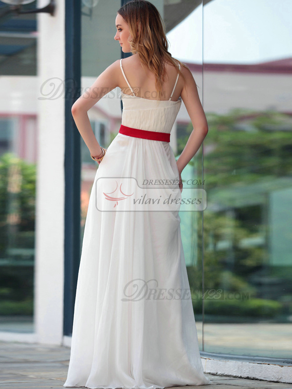 Lovely A-line Spaghetti Straps Floor-length Crystal/Rhinestone Evening Dresses
