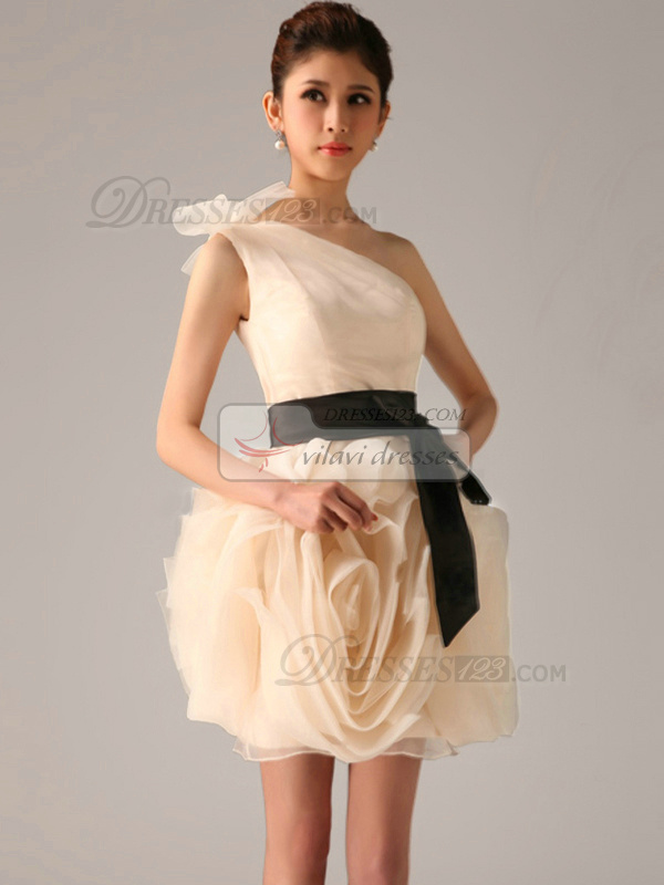 Lovely Princess One shoulder Sashes/Ribbons Bridesmaid Dresses