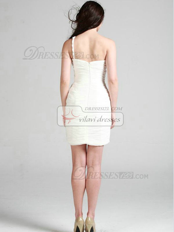 Lovely Sheath/Column Chiffon One shoulder Short/Mini Cocktail/Graduation Dresses