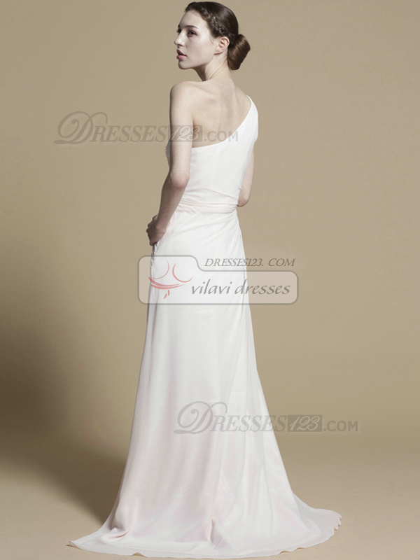 Luxurious A-line Chiffon One shoulder Beading Evening/Prom Dresses