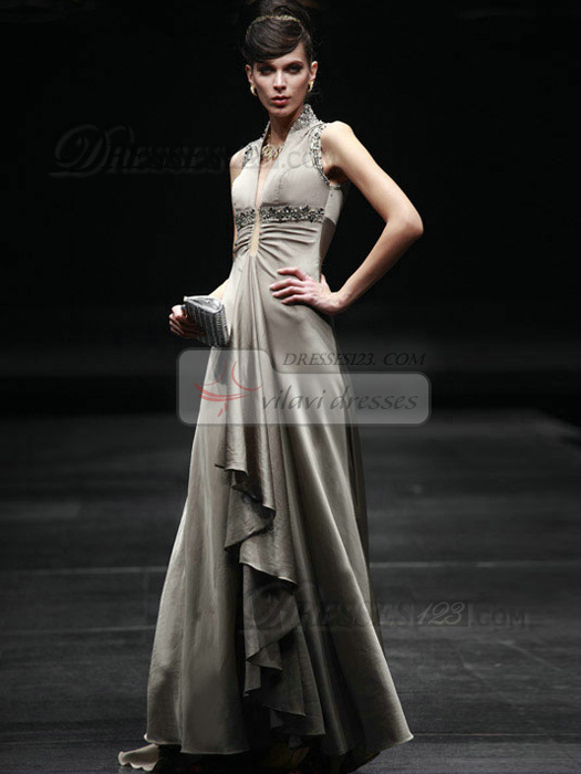 Noble A-line Elastic Silk-like Satin Stand Collar Beading Prom/Evening Dresses