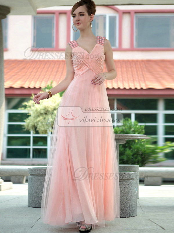 Noble A-line Tulle V-neck Criss-cross Prom/Evening Dresses