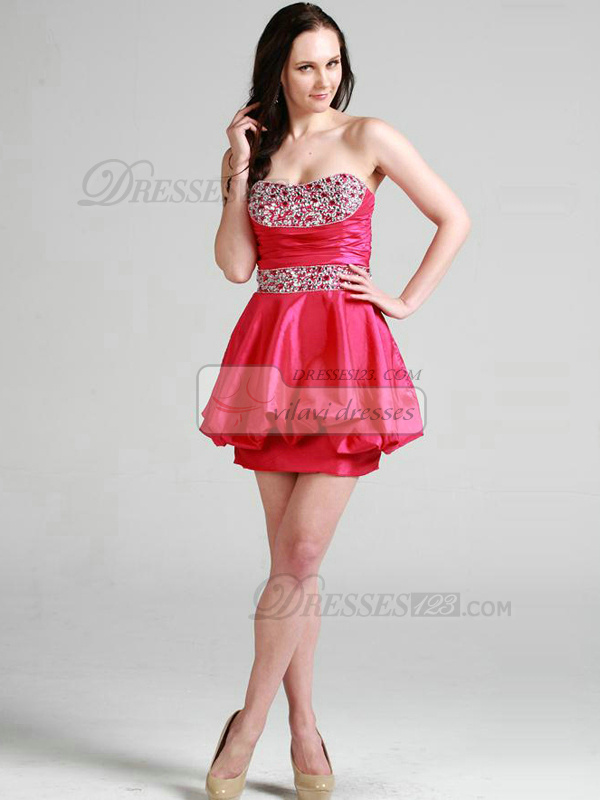 Noble Ball Gown Taffeta Short/Mini Crystal Cocktail/Prom Dresses