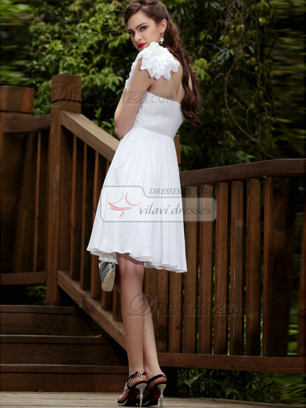 Noble Sheath/Column One shoulder Knee-length Flower Graduation/Cocktail Dresses