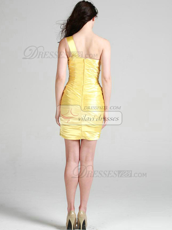 Noble Sheath/Column One shoulder Short/Mini Tiered Cocktail Dresses
