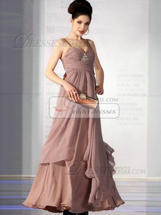 Outstanding A-line Chiffon Straps Split Front Evening/Prom Dresses