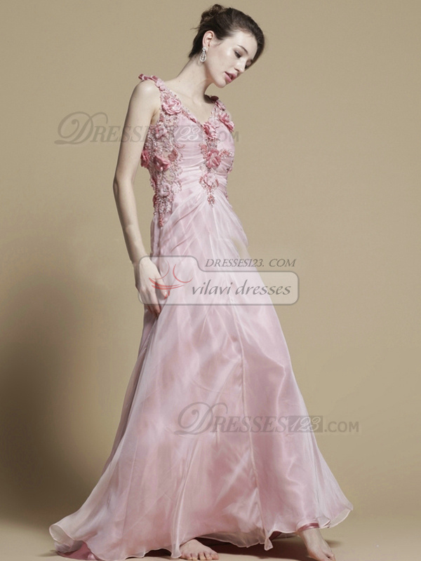 Perfect A-line Chiffon Straps Flower Evening/Prom Dresses