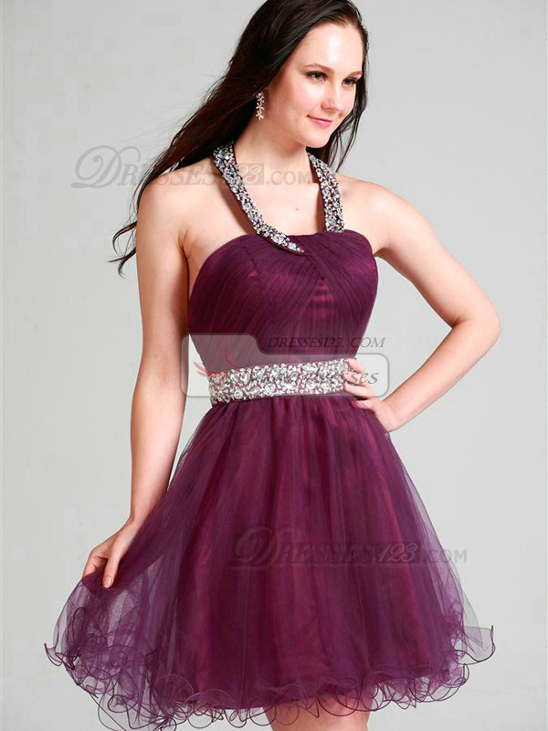 Perfect A-line Tulle Halter Short/Mini Cocktail/Prom Dresses