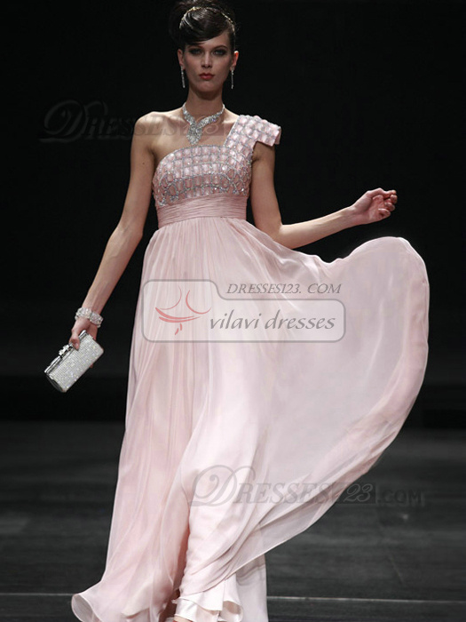 Perfect Sheath/Column Chiffon One shoulder Floor-length Evening/Prom Dresses