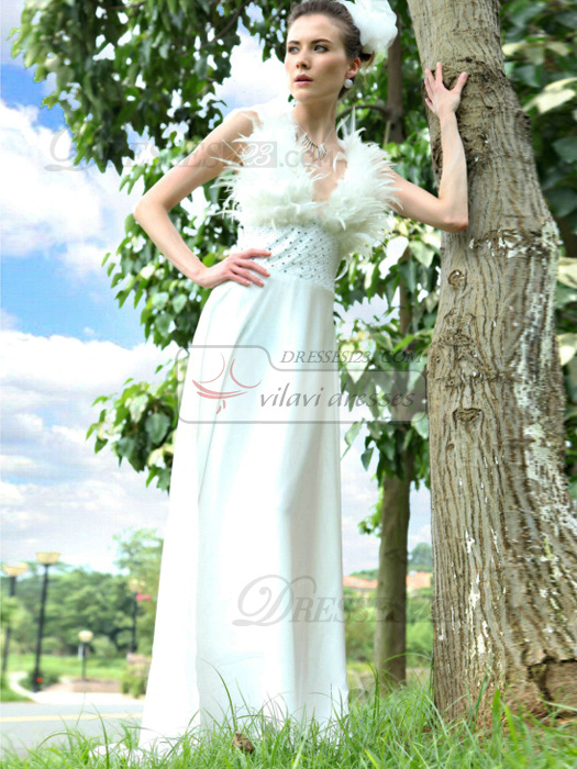 Perfect Sheath/Column Chiffon V-neck Feathers Evening/Prom Dresses