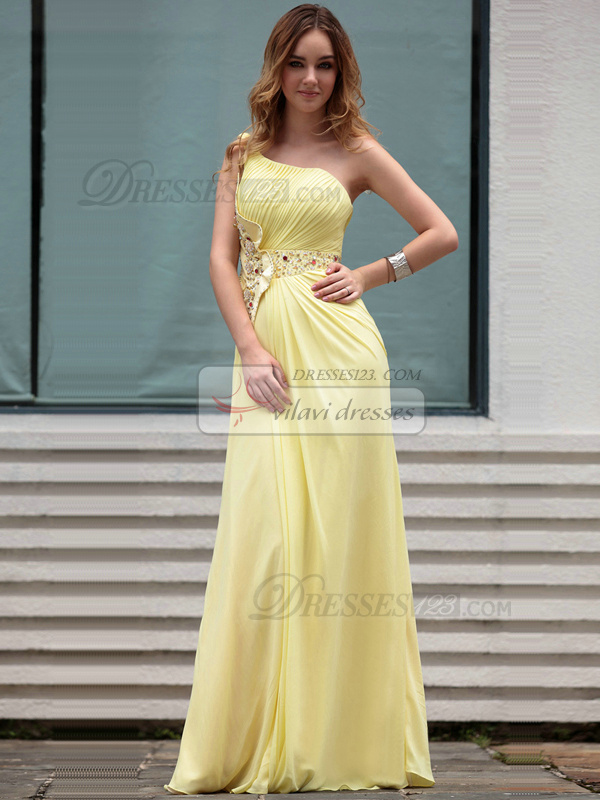Perfect Sheath/Column One shoulder Floor-length Beading Chiffon Evening Dresses